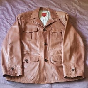 Mens Leather Button Up Coat